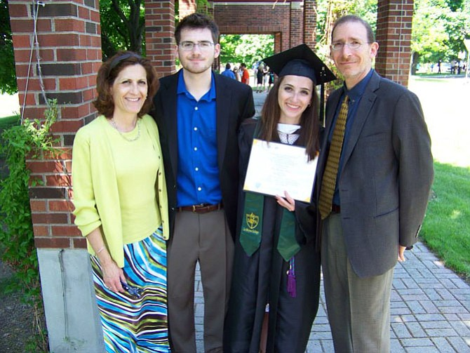 (From left) Jackie Marino, her son Nick, daughter Elisa and husband Robert celebrate Elisa's graduation.