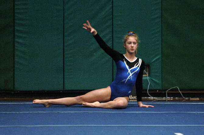 Yorktown freshman Julia Hays won the all-around competition at Monday's meet at Langley High School.