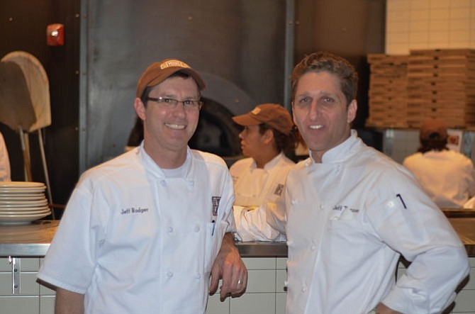 Not Your Average Joe's chef Jeff Rodger with executive chef Jeff Tenner at the new Reston location. Not Your Average Joe's at Reston will open in January with a winter menu.
