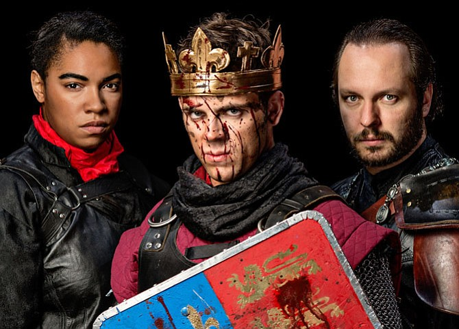 "From left -- Aleca Piper as Gloucester, Ross Neal as King Henry, and Chris Bellinger as Exeter in ""The Life of King Henry V."""