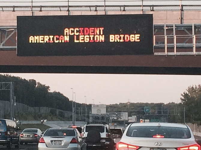 Accident Ahead: McLean Citizens Association and many county business groups call for improvements to the American Legion Bridge in part because commuters clog McLean and Great Falls roads to circumvent the Beltway backup toward the bridge.