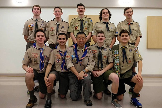 Current and future Eagle Scouts. Bottom, from left, Patrick Ryan, Paul Youssef, Scoutmaster Gary Pan, Kevin Devlin and Wesley Pan. Top from left, Drew Dudzik, Thomas Windus, Will Frank, William Molster and Justin Meeker.