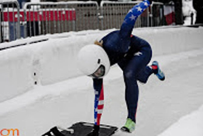 Veronica Day takes off on her sled in-training for 2018 Winter Olympics.