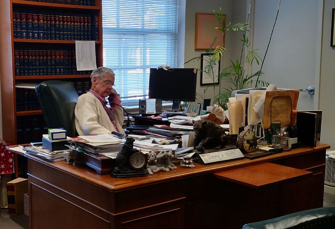 On the day before Thanksgiving 2015, Gordon Peyton makes a rare appearance in his office sans his customary suit and tie.