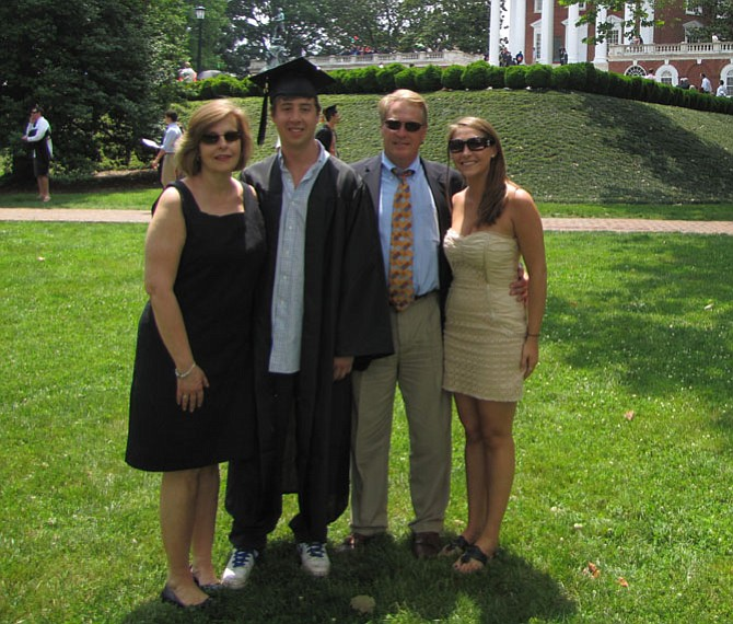 The Flattery family (from left) of wife Priscilla, Kevin, Don and daughter Kara attends Kevin's graduation from the University of Virginia on May 23, 2010.