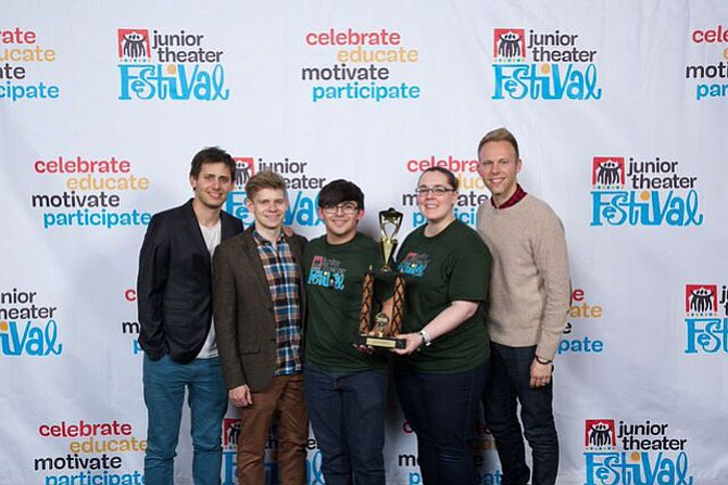 Lopez Studios accepting its Excellence in Ensemble Work, from left: Tony-nominated composer Benj Pasek, Broadway performer Andrew Keenan-Bolger, Lopez Studios, Inc. student Jason Itkin, Lopez Studios, Inc. educator Jennifer Kessler accepting the award on their group's behalf; and Tony-nominated composer Justin Paul.