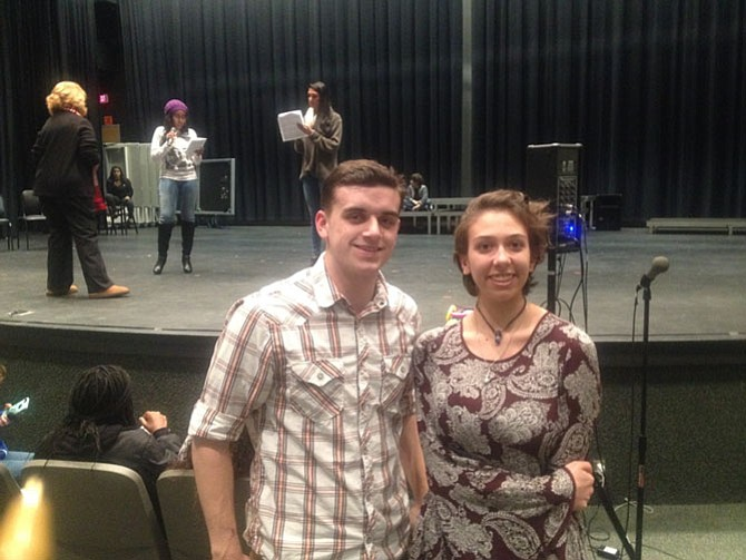 Reston SLHS senior Sean Danaher with junior Maddy Emmert, who is helping with the costumes in this production. SLHS is putting on its 11th winter cabaret show in January at the school.