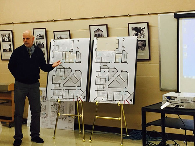 Dave Hallett, of the Lukmire Partnership, showed two design plans to the McLean Community Center's Capital Facilities and Finance committees. One design plan saves Maffitt Hall.
