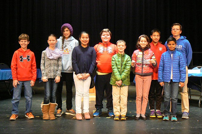 Participants in Langley's Geography Bee on Jan. 14.
