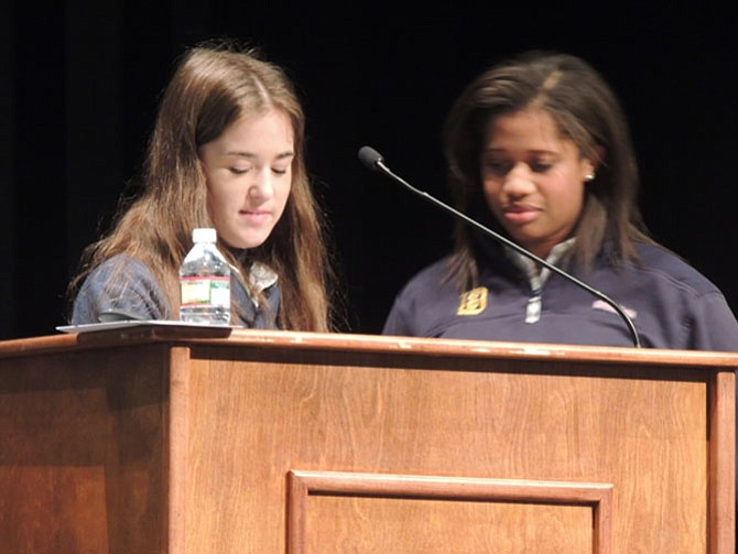Amanda Kay and Skylar Jordan explain their proposal to the audience. Later they were chosen as the winners.