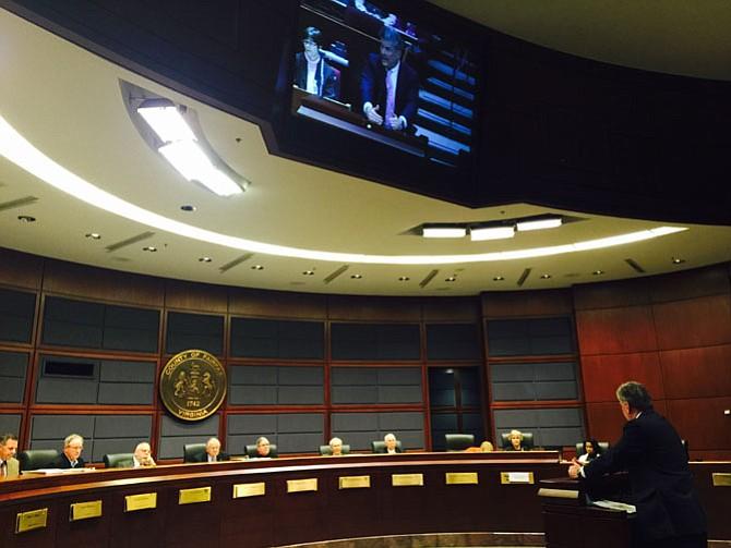 William Stefan testifies at the Fairfax Planning Commission on Thursday, Jan. 21 against a monopole near his Fairfax neighborhood.