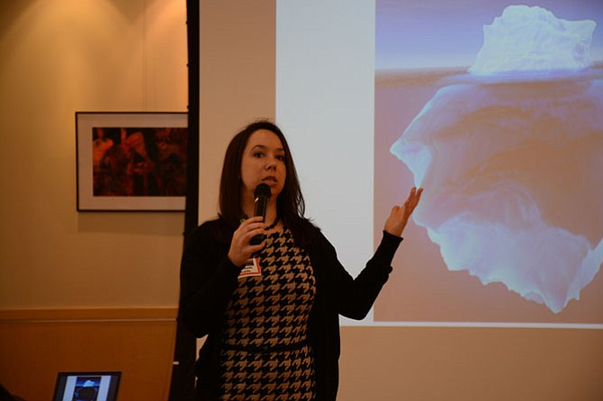 Keynote speaker Elizabeth Scaife, director of Training at Shared Hope International, began an afternoon discussing human trafficking on Jan. 31 at the Stacy C. Sherwood Community Center in Fairfax.