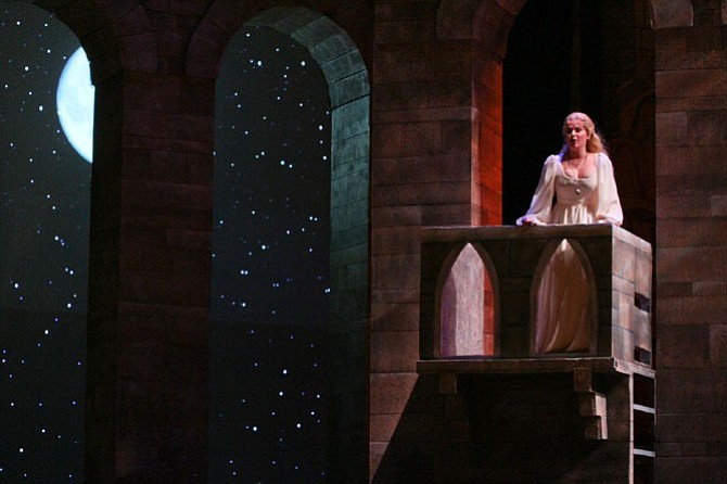 "Balcony scene with Marie-Eve Munger (Juliet) in Virginia Opera and Opera Carolina co-production of ""Romeo and Juliet."""