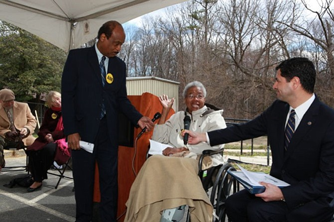 County Executive Leggett, Bette Thompson and Recreation Department Director Gabe Albornoz at the March 2013 groundbreaking ceremony for the renovation of the Scotland Community Center.