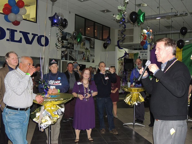 U.S. Rep. Don Beyer (D-8) kicks off the Feb. 6 Democratic Straw Poll held at the Richmond Highway Don Beyer Volvo car dealership.