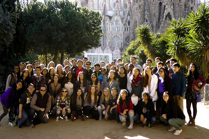 All of the Langley musicians posing in front of the Sagrada Família in Barcelona.