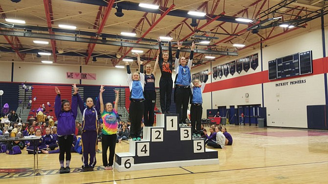 Hayfield senior gymnast Molly Overstreet won the 6A North region bars championship on Feb. 13 at Patriot High School.