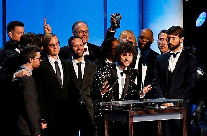 Surrounded by Snarky Puppy and The Metropole Orkest, Michael League gives his Grammy Award acceptance speech.