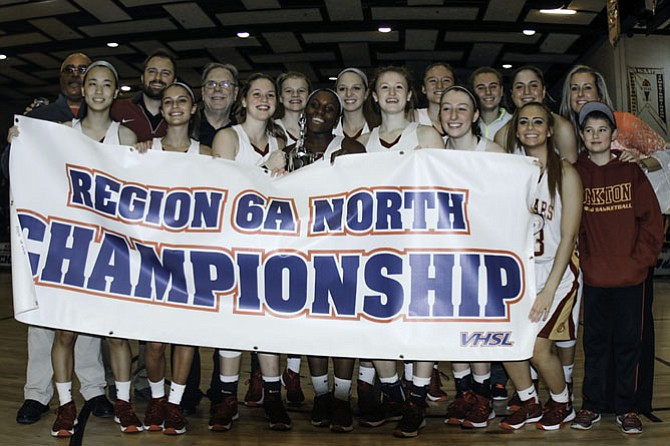 The Oakton girls' basketball team on Feb. 27 won its second straight 6A North region championship.