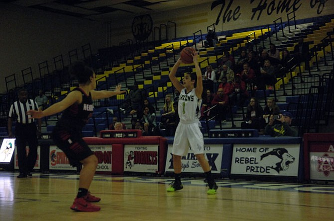 Sophomore guard Jordyn Callaghan and the Langley girls' basketball team defeated Herndon 48-43 in the 6A North region third-place game on Feb. 27 at Robinson Secondary School.