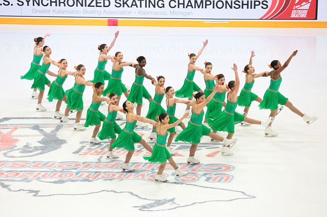 DC EDGE Juvenile team performs a pyramid formation at the 2016 U.S. Synchronized Skating Championships on Feb. 25