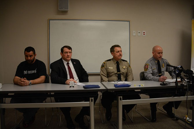 From left, Peer support specialist supervisor and senior recovery coach with Substance Abuse Addiction and Recovery (SAARA) Nick Yacoub, Supervisor Pat Herrity (R-Springfield), Loudoun County Sheriff Mike Chapman and Fairfax County Police Department Commander of the Organized Crime and Narcotics Unit Captain Jack Hardin discuss the use of heroin and other opioid drugs in Fairfax County.