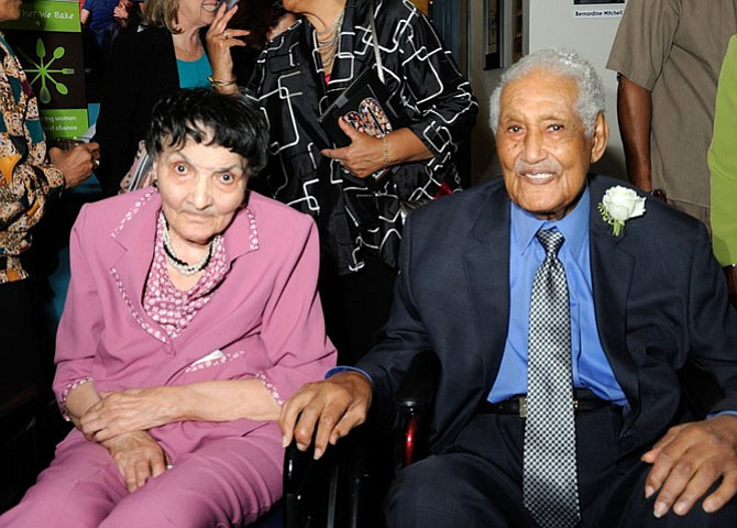 Dorothy Turner, left, is shown with fellow Living Legend Ferdinand Day at a 2014 MetroStage reception honoring local Civil Rights icons. Turner died March 3 at the age of 87.