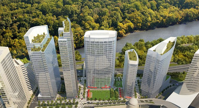 Concept rendering for the new Rosslyn Plaza along the waterfront.