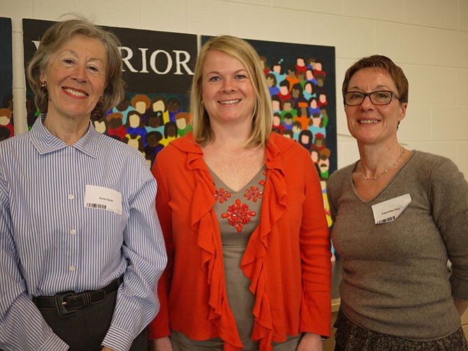 From left: Anne-Marie Daris, president of Arlington-Reims Sister City Association, with Katy Wheelock and Francoise Duvivier.