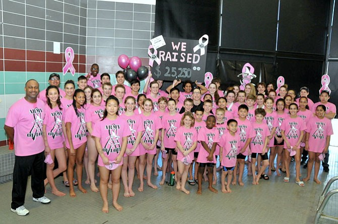 Fifty-two swimmers from the Shark Tank Racing Squad raised more than $25,000 for breast cancer research by participating in the team's sixth annual swimming marathon on Feb. 28 at South Run RECenter.