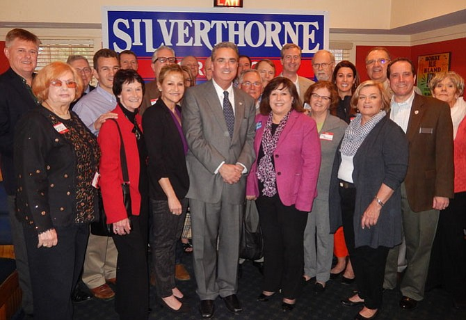 Fairfax City Mayor Scott Silverthorne (in center) with a group of past and current elected officials during his re-election campaign kickoff, Sunday afternoon, March 13.
