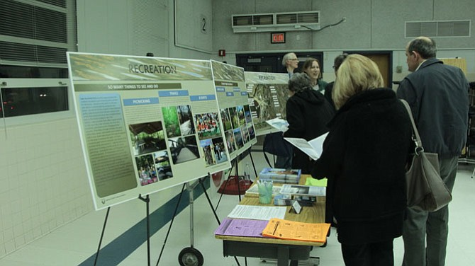 Project managers displayed boards presenting information about Lake Accotink, including facts about Recreation and Wildlife.