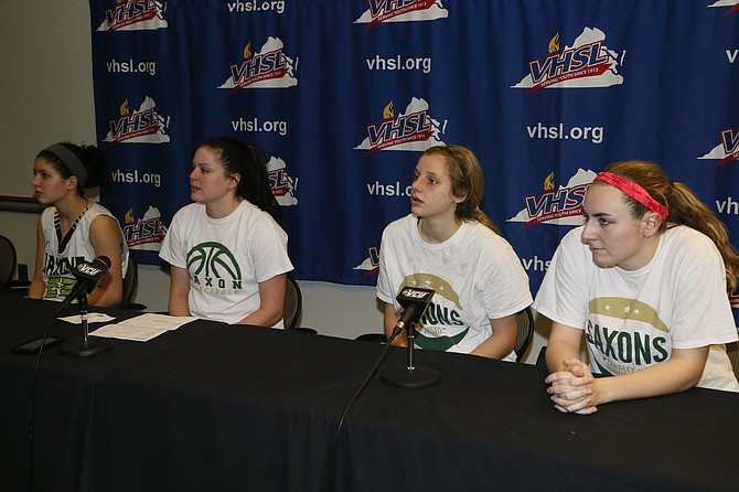 From left: Langley's Lizzy Shamloo, head coach Amanda Baker, Paige Galiani and Stephanie Sipple answered questions from the media following the 6A state championship game on March 9 at VCU.
