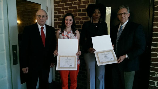 Dr. Glen Fatzinger (left) and Northern Virginia Community College President Dr. Scott Ralls (right) present Ashley French (center left) and Amina Amisi (center right) with the 2016 Harriet H. Fatzinger Nursing Memorial Scholarships.