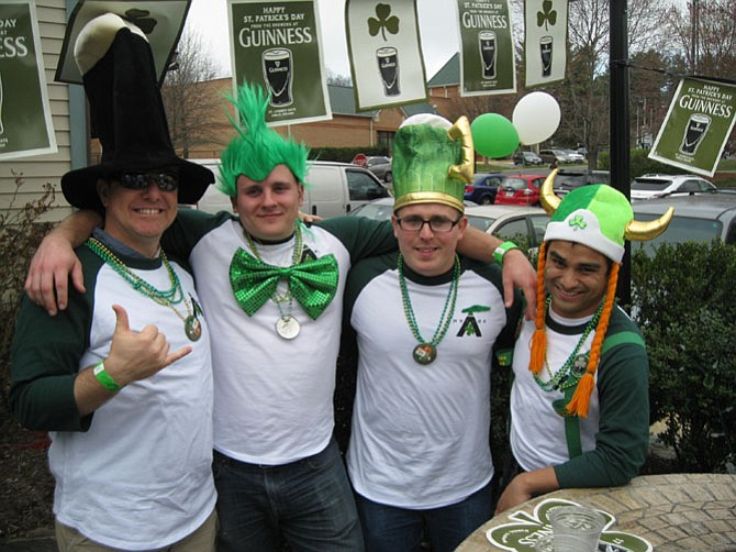 Dressed in St. Patrick's Day cheer are Chad Kennedy, Dave Woods, Nathan Perry and Wes Fine.