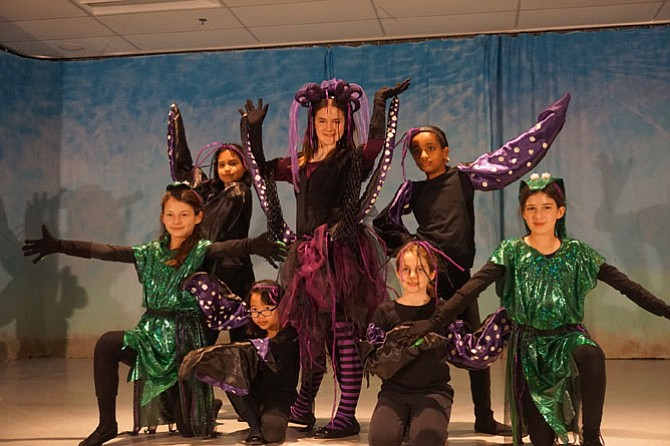 """Poor Unfortunate Souls"" performed by Friday night cast's Ursula played by Sami Burgess, Flotsam played by Amalia Pereira, Jetsam played by Madelyn Castro, Tentacles played by Anna Grace Hill, Mary Michael, Nella Pepelko, and Amber Casey-Oleyar."