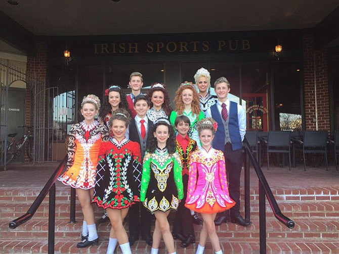 Students of the Boyle School of Irish Dance pose for a photo outside Ned Devine's in Herndon. Twelve students from this Northern Virginia based school qualified to compete in the the 46th World Irish Dancing Championships at The Royal Concert Hall in Scotland.