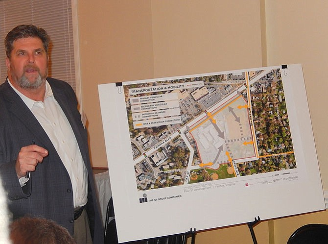 Transportation consultant Chris Turnbull discusses road plans for the area.
