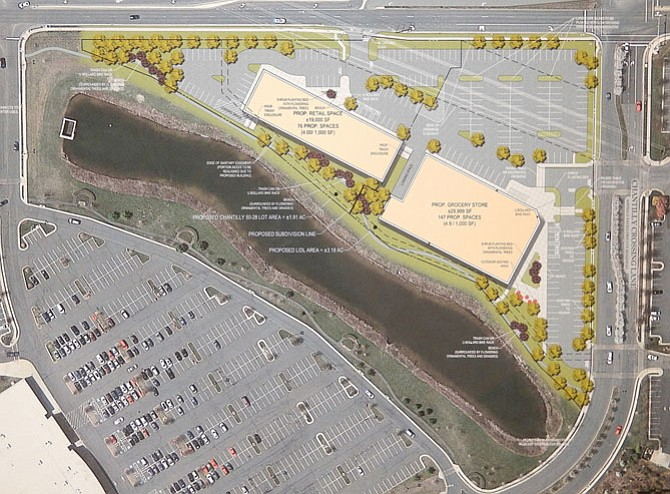 The site layout showing the proposed location of the two, new buildings.