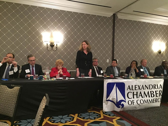 Mayor Allison Silberberg, flanked by City Council and local state legislators, at the 2016 Legislative Breakfast.
