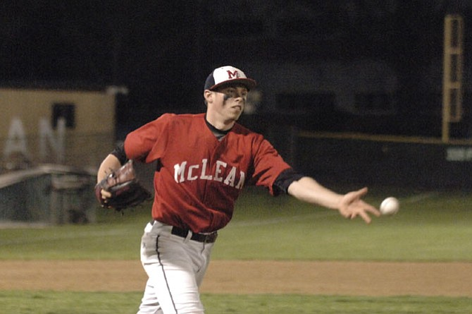 McLean pitcher Jon Clines threw a complete game and earned the win against Langley on April 1.