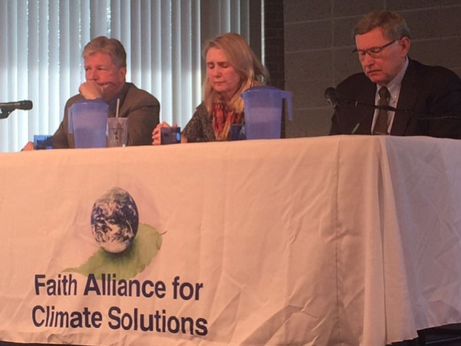 Secretary Brian Moran, Chairman Pat Hynes of the Fairfax County School Board and Supervisor John Foust (D-Dranesville) discuss climate change initiatives.