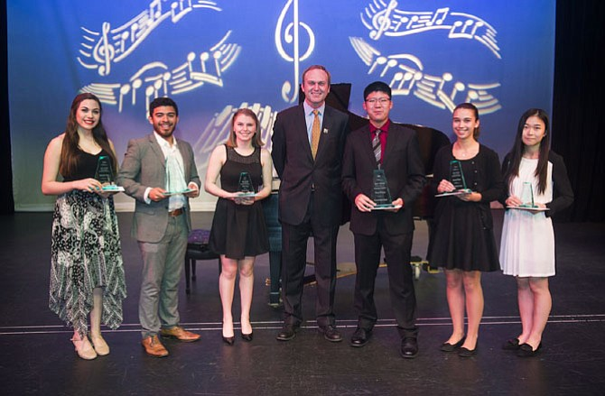 2016 Macdonald Scholarship Winners Jamie Goodson (Second Place, Vocal Music), Josh Delgado (First Place, Vocal Music), Nicole Sheehan (Third Place, Vocal Music), MCC Governing Board Chair Paul Kohlenberger and Eric Lin (First Place, Instrumental Music), Lauren Cain (Second Place, Instrumental Music)  and Xiyou Wang (Third Place, Instrumental Music).