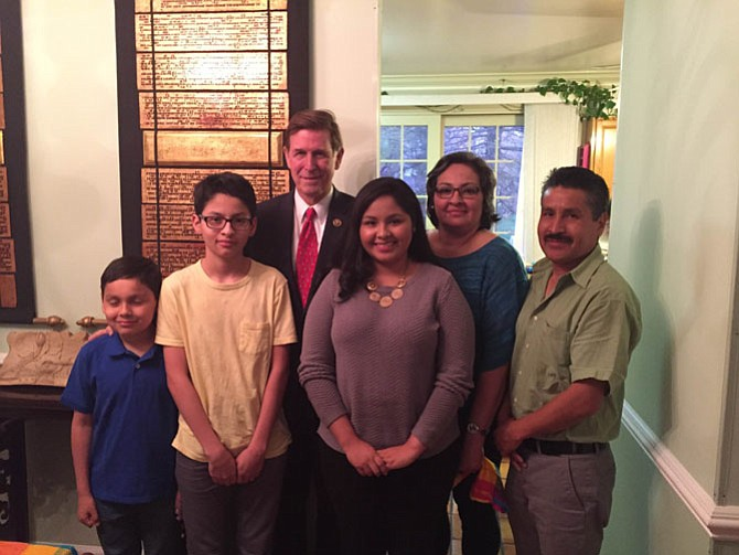 From left are Christian Pinto, Jerry Rodrigo Pinto, U.S. Rep. Don Beyer, Ambar Pinto, Elvira Pinto, and Jerry Pinto.