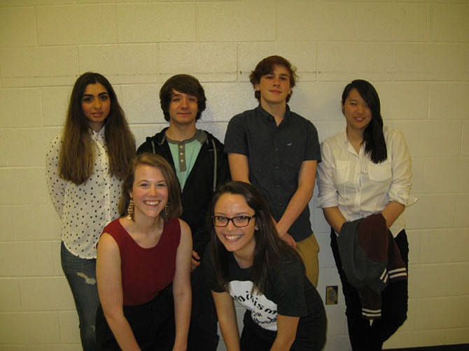 Pictured are South Lakes High School students who presented their writing work (back row): Dorsa Haftsavar, Ryan Lumbert, Joe Hamidy, and Evelyn Vuong. (Front row): Sarah Benson and Ariana DeLaurentis.