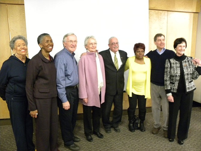From left, Reston Association's Ellen Graves, Hunter Mill Supervisor Cathy Hudgins, Del. Ken Plum (D-36), Cheryl Terio-Simon, U.S. Rep. Gerry Connolly (D-11), Reston Community Center's Beverly Cosham, Reston Historic Trust and Museum's Charles Veatch and Fairfax County Board of Supervisors Chairman Sharon Bulova attend the opening ceremony of the 13th Founder's Day on Sunday, April 9.