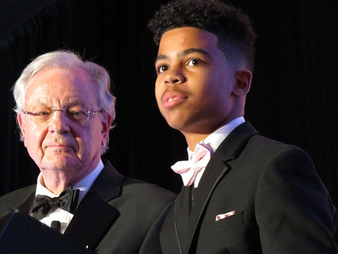 Phil Tobey, a 2001 Best of Reston Honoree, and Langston Hughes Middle School student Joseph Dagbe were the Master of Ceremonies for the 2016 Best of Reston: Awards for Community Service. Joseph is a graduate of the Laurel Learning Center.