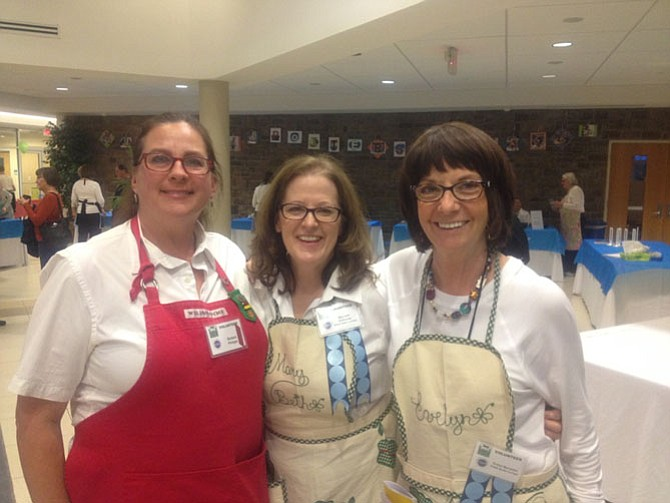 Barbara Philipps, Mary Beth DiVincenzo and Evelyn Mercantini smile for a photo at Floris United Methodist Church on Frying Pan Road in Herndon. The ninth annual Empty Bowls event was well attended and all proceeds went directly to nonprofit Food for Others.