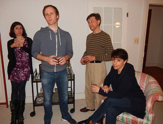 (From left) Stephanie Ramsey, Mike Rudden, Scott Graham and Karen Shotts portray couples talking after a dinner party.