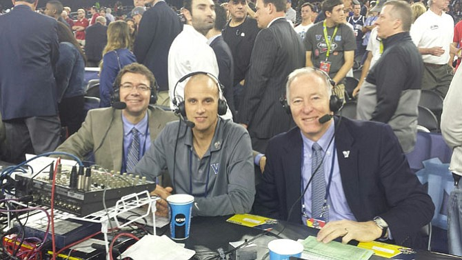 Alexandria's Ryan Fannon, left, with Villanova Radio Network engineer Joe Gaines and color commentator Whitey Rigsby at the 2016 NCAA Final Four in Houston. Fannon has been the play-by-play voice of Villanova basketball for 18 years.